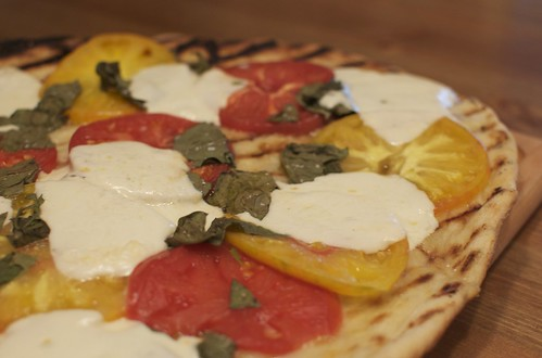 Pizza with Fresh Mozzarella, Tomato and Basil