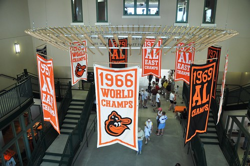 Interior Ed Smith Stadium - Bats and Banners, Baltimore Orioles Spring Training, Sarasota, Fla., March 5, 2011