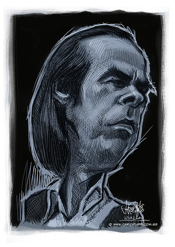 digital caricature sketch of Nick Cave - 1