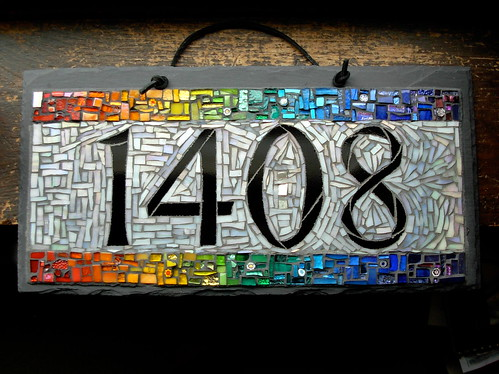 Rainbow Mosaic House Number 1408