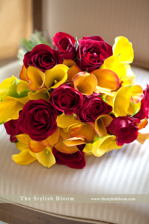 Wedding bouquet in red and yellow
