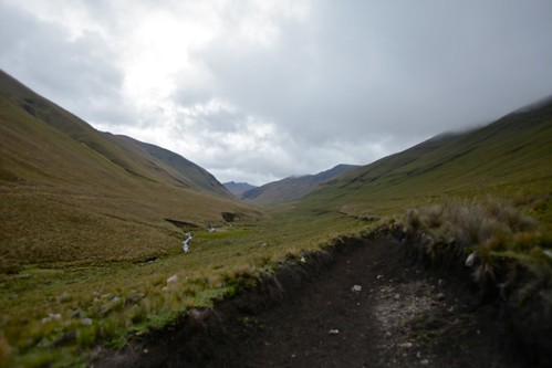 The glacial valley along which the Inca Trail runs.