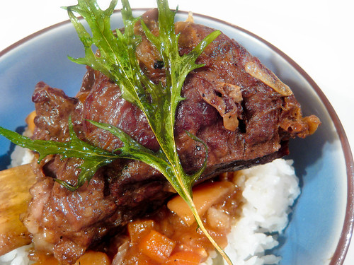 Post image for Japanese Beer-Braised Beef Short Ribs with Mizuna Chips