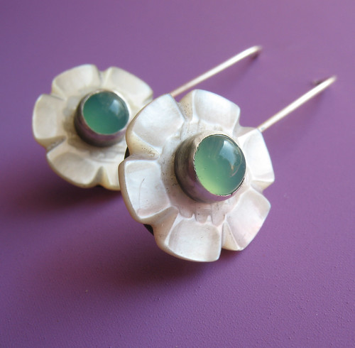 Chrysporase and Mother of Pearl Button Earrings