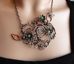 Copper Vine Necklace (Ruth Jensen) Tags: necklace wire spirals copper pendant copperwire wiresculpture sparkflight ruthjensen recycledcopper