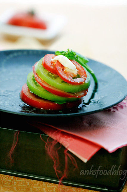 Tomato, basil, fresh mozzarella. This is summer on my plate!