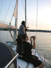 Sunset in English Bay (David J. Greer) Tags: ocean girls boy male english boys water girl female vancouver outside outdoors evening bay still sailing bc outdoor dusk front calm deck sail mast