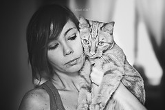 What else? (mickiky) Tags: portrait woman pet selfportrait me animal cat myself blackwhite donna kitten chat autoritratto remotecontrol gatto ritratto animale biancoenero autoscatto
