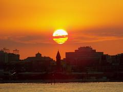 Sunset interrupted I (jglsongs) Tags: nyc newyorkcity sunset orange sun ny newyork river newjersey jerseycity manhattan nj hudsonriver hudson riverfront hoboken christopherstreetpier
