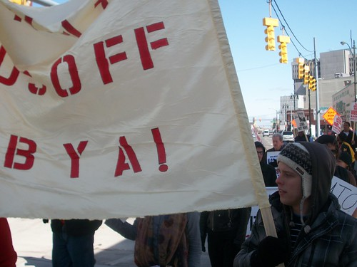 Banner calls for U.S./NATO hands off Libya at the anti-war demonstration in downtown Detroit on March 19, 2011. (Photo: Abayomi Azikiwe) by Pan-African News Wire File Photos