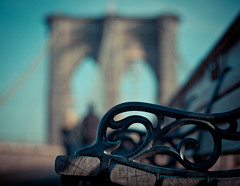 benching on brooklyn bridge (happy bench monday) (pamela ross) Tags: world bridge shadow sun newyork tourism pen bench 50mm minolta f14 famous bank olympus brooklynbridge ep1 texturebokeh