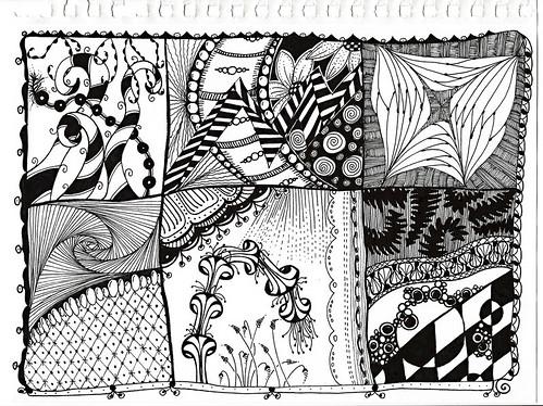 Zentangle Inspired Patchwork Sampler