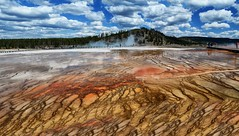 Grand Prismatic Spring Panorama, Yellowstone National Park, WY (Gail K E) Tags: yellowstone wyoming yellowstonenationalpark geothermal hotspring scenic spectacular brilliant mineral spring grandprismaticspring midwaygeyserbasin usa nikond7000