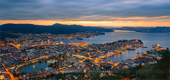 Sunset in Bergen from Mount Floyen - Norway (~ Floydian ~ ) Tags: henkmeijer photography floydian norway bergen hordaland norwegian city town floyen fløyen mountfloyen bluehour sunset evening dusk famous wellknown location destination mountain mountains tranquil tranquility serene peaceful citylights scenery cityscape twilight leefilters ts tiltshift tse24mmf35lii canon canoneos1dsmarkiii wow