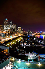 Alaskan Way (Gnar5tar) Tags: seattle city water field night d50 boats nikon long exposure downtown sound puget qwest