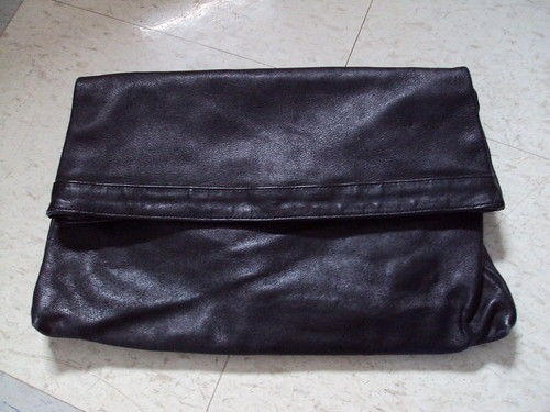Foldover Black Leather Clutch