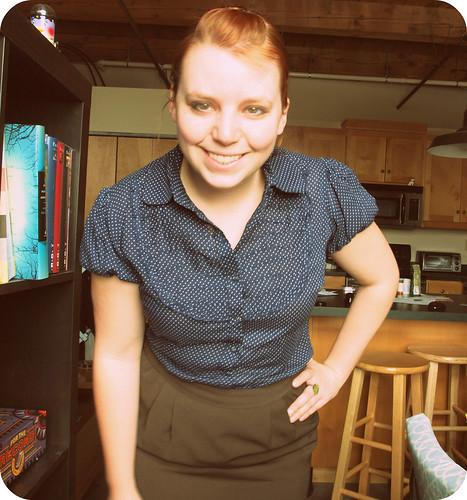 polka dot shirt green skirt