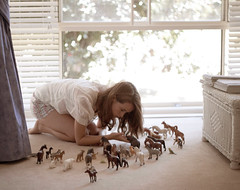 60.70 (claire-r) Tags: light summer window girl animals canon project toys child grain blinds f18 childlike