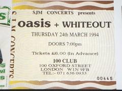 "Oasis ticket 100 Club 1994 <a style=""margin-left:10px; font-size:0.8em;"" href=""http://www.flickr.com/photos/58583419@N08/5401237052/"" target=""_blank"">@flickr</a>"