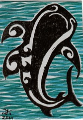 aumakua ATC for sher (Fi Webster) Tags: fish atc hawaii shark polynesian swapbot aumakua