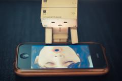 Danbo + Zooey (Rich GrohL) Tags: anime love apple japan toy amazon kiss ipod phone box manga collection figure otaku articulated zooey deschanel iphone yotsuba danbo revoltech danboard