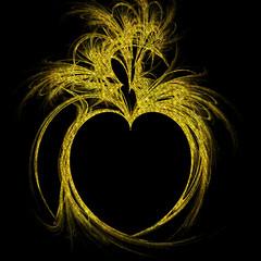 Gold Fractal Heart (Ate My Crayons) Tags: holiday art glitter gold heart digitalart gimp valentine sparkle flame computerart fractal amc thegimp valentinesday fractalart flamefractal artdigital artgimp