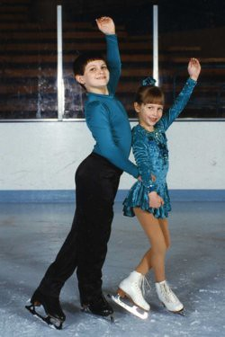 Will, 11, and Christina, 6, in their first pairs skating experiences, 1996. Their interest in skating led to their careers now as skating coaches and professional skaters.