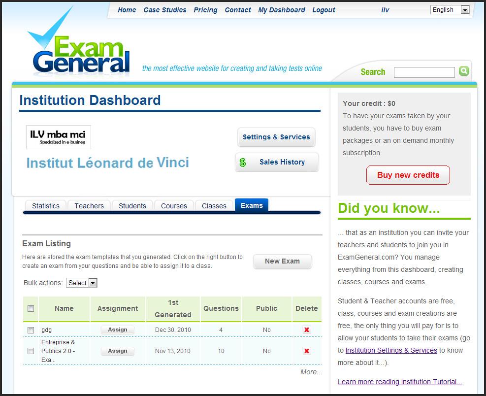 ExamGeneral Institution Dashboard Screenshot