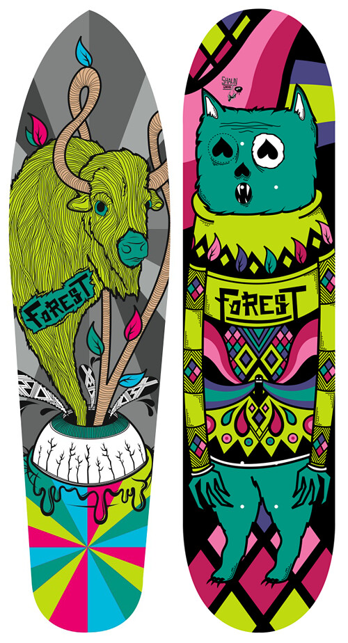 Various boards for Forest Skateboards