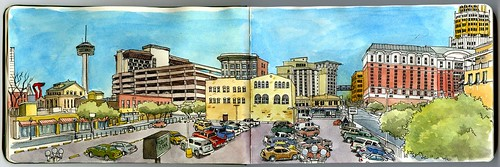 san antonio watercolor panoramic sketch