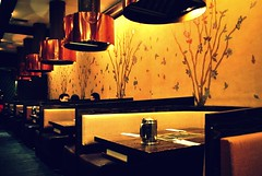 BCD - Koreatown, NYC (Plantains & Kimchi) Tags: flowers trees food birds wall restaurant air tag korean tables booths copper bcd koreatown vents
