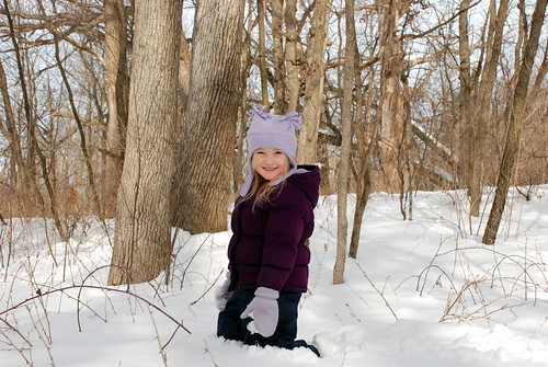 Snow play and a walk in the woods
