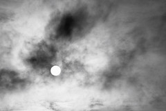 Sun through Clouds (ShinyPhotoScotland) Tags: light sky blackandwhite sun abstract nature clouds landscape pattern arty places gb dxo minimalist downsouth genrearty