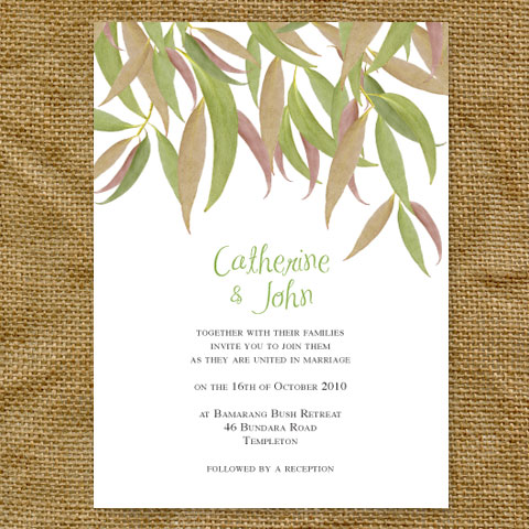 gum leaf single page wedding invitation