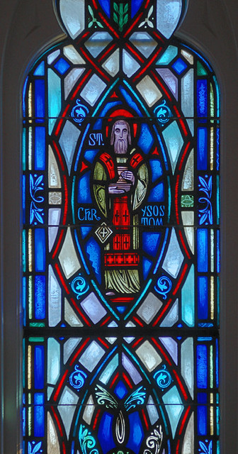 Saint Mary Roman Catholic Church, in Alton, Illinois, USA - detail of stained glass window, Saint Chrysostom