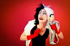 Cruella de Vil and Pee Wee Herman (verkstad) Tags: portrait female cruelladevil redbackground