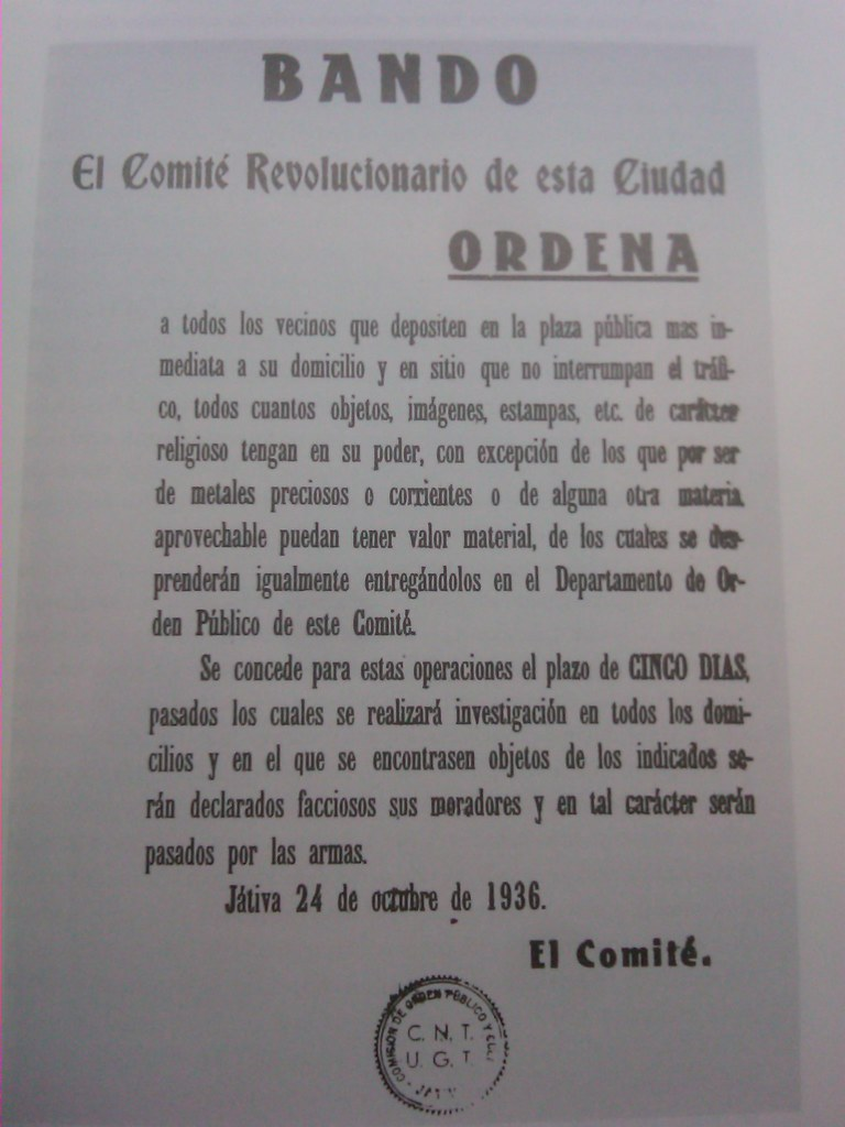 Bando del comité revolucionario (CNT y UGT) Játiva, octubre 1936