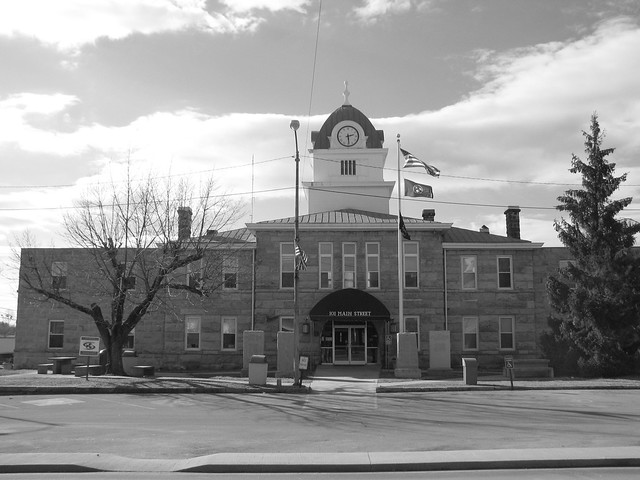 Fentress County Courthouse black and white
