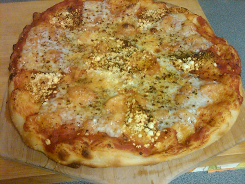 Goat Gouda and Crumbled Chevre Pizza