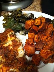 Blackened Cod, Braised Kale, Roasted Sweet Potatoes