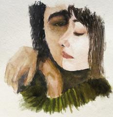 watercolor of RengimMutevellioglu's 'The Magic of' (thatsbreathtaking) Tags: love watercolor couple peace comfort embrace themagicof rengimmutevellioglu
