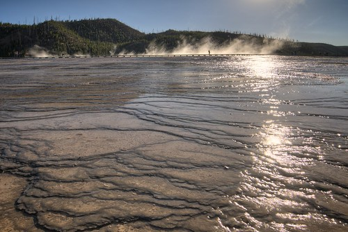 Bridge Over the Bacterial Mats at Grand Prismatic Spring