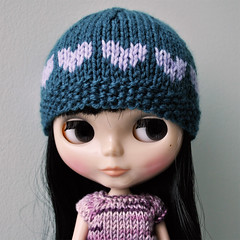 Dark Teal and Purple Heart Hat