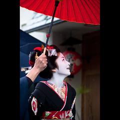 (Masahiro Makino) Tags: rain japan umbrella photoshop canon eos kyoto kiss lookingup maiko adobe    gion congratulations tamron 90mm f28  satsuki lightroom x3   misedashi     20110228134045canoneoskissx3ls640p