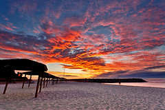 Cottesloe fire (Luke Tscharke) Tags: sunset red sky scarlet fire cottesloe sunshades