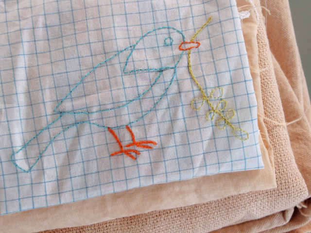 Embroidered bird hankie