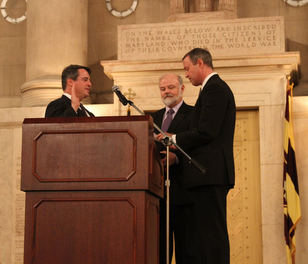 Governor Martin O'Malley gives Attorney General Doug Gansler the oath of office