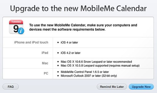 Upgrade to the new MobileMe Calendar