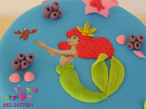 little mermaid cake - close up on ariel בת הים הקטנה - תקריב על אריאל