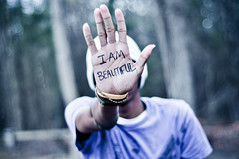 I Am Beautiful. (tyreke.white) Tags: blue trees orange green beautiful yellow 50mm am nikon hand purple bokeh gradient sharpie 18 beanie i d5000